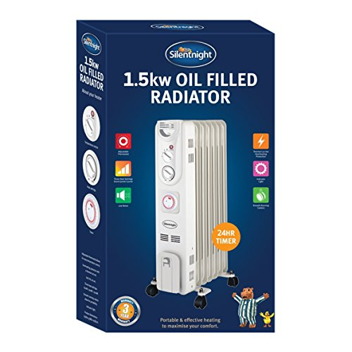 Silentnight 7-Fin Oil Filled Radiator with Timer, 1500 Watt, 38140