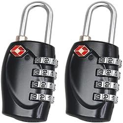 EarlyBird Savings–2pcs TSA Equipaje de viaje con candado de combinación Coded Lock Incluye un lápiz Black 4-Dial