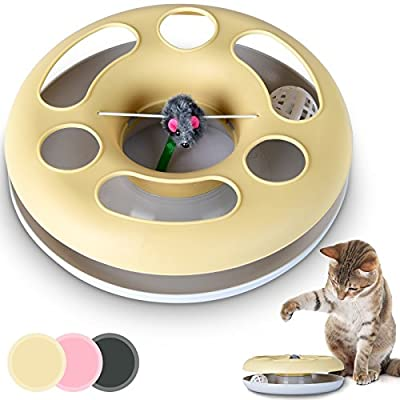 Leopet Cat Roundabout Kitty Plastic Toy Chasing Ball & Playing Plush Mouse DIFFERENT COLOURS