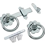Galvanised Gate Ring Latch Handle & Fixings - Heavy Duty Garden Fence/Door Lock
