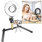 Neewer Tisch Make-Up Ring Licht Set: 8 Zoll dimmbare mini LED Ring Licht mit 3,5 Zoll Spiegel, Tisch Ständer, Telefon Klammer für Kosmetik Blog Make-up Selfie Video Fotografie (keine Tragetasche)