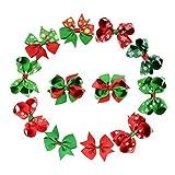 Tinksky 12 stücke Weihnachten Bowknot Haarnadeln Haarschleife Clips Kopfschmuck Verschiedene Ripsband Boutique Haarnadeln Für Babys Kleinkinder Kinder