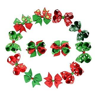OULII Clip de pelo de la cinta arco del clip de la horquilla accesorios del pelo de Navidad para bebés niños – 12 Pedazos