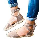 VJGOAL Damen Sandalen, Damen Sommermode Roman Flache Spitze-up Espadrilles Chunky Urlaub Sandalen Strap Schuhe (36 EU, Grau)