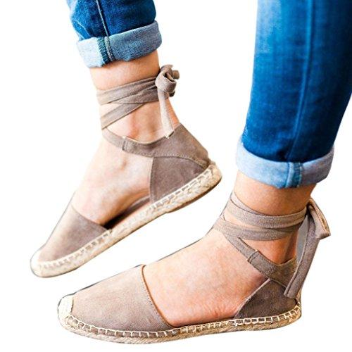 n, Damen Sommermode Roman Flache Spitze-up Espadrilles Chunky Urlaub Sandalen Strap Schuhe (39 EU, Grau) (Mädchen Kleid Up Ideen)