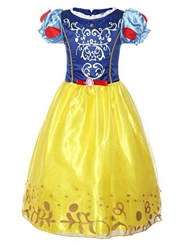 Kostüm Kleid Cinderella Rosa - ReliBeauty Mädchen Kurzarm Prinzessin Kleid Schneewittchen Retro Muster Puffärmel Falten Kostüme, Blau&Gelb, 120