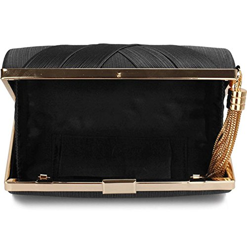 L And S Handbags Hard Case Tassel Clutch With Chain, Poschette giorno donna Black