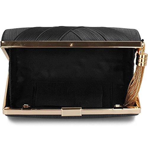 L And S Handbags Hard Case Tassel Clutch With Chain, Poschette giorno donna Black