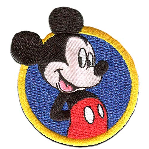 - Mickey Mouse Micky & Freunde 'Micky Maus' Disney - blau - 7x7cm - Patch Aufbügler Applikationen zum aufbügeln Applikation Patches Flicken ()