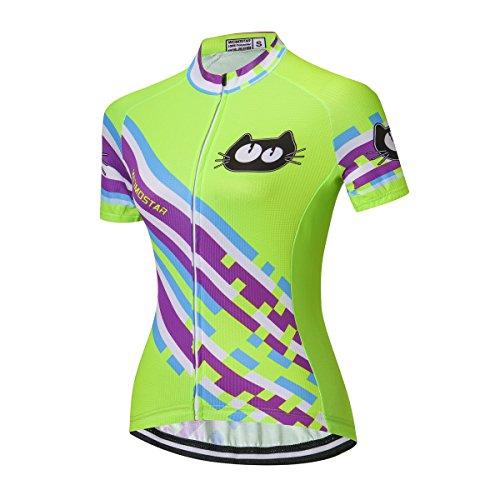 Weimostar Radfahren Jersey Frauen Fahrrad Trikots Sport Bluse Kurzarm Fahrrad T-Shirts Top Outdoor Reiten Jersey Fahrrad Jacke Schwarz Größe L