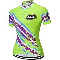 weimo Star Ciclismo Jersey Mujeres Bicicleta Maillots Sport Blusa Manga Corta Bicicleta Camisetas Top Outdoor Jinete Jersey–Chaqueta de Ciclismo, Mujer, Color Grünes Lila, Tamaño Large