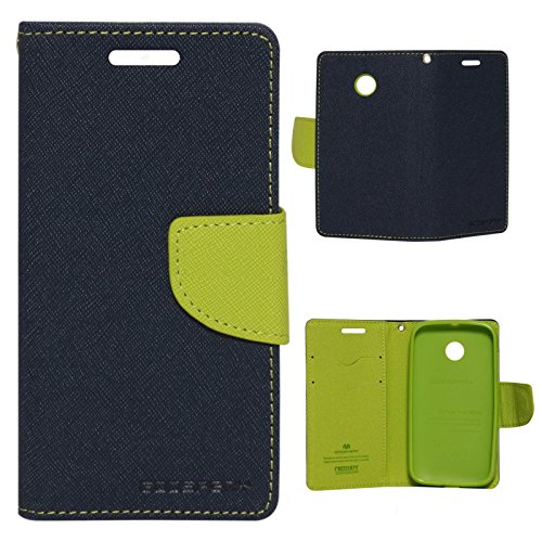 Cubezap Mercury Goospery Fancy Diary Wallet Flip Case Back Cover for Motorola Moto E 2nd gen E2 - Green Blue