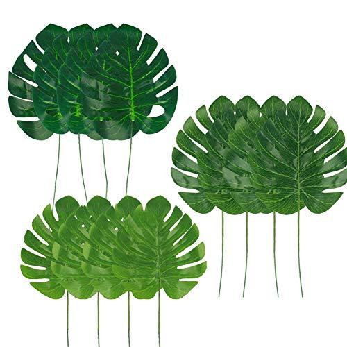 r Künstliche Tropische Blätter Dekorationen, Palm Leaf für Party Dekorationen, Jungle Party Dekorationen, 3Verschiedene Größen, 12Stück je ()