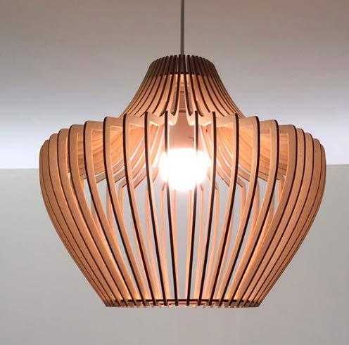 ANEKODESIGN Skandinavisches Style Leuchten Hölzerne Lampe Dekorative Deckenleuchte Kronleuchter weißer Draht E27 E26 -
