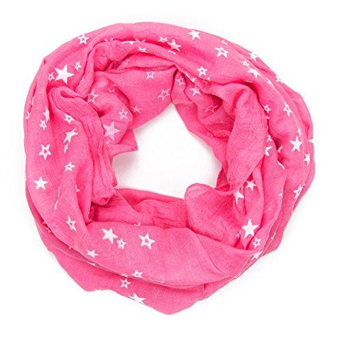 ManuMar Loop-Schal für Damen | Hals-Tuch mit Sterne in 3D Effekt-Motiv als perfektes Sommer-Accessoire | Schlauch-Schal in Pink - Das ideale Geschenk für Frauen