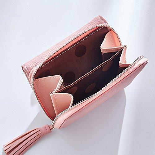 Portafoglio Donna - Borsa in Pelle di Cuoio Dell'unità di Elaborazione Borse di Supporto Donne Delle Borse Dell'inarcamento Della Frizione (Grigio) Rosa