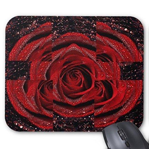 Splendido cristallo rosso Rose con rugiada Mousepad