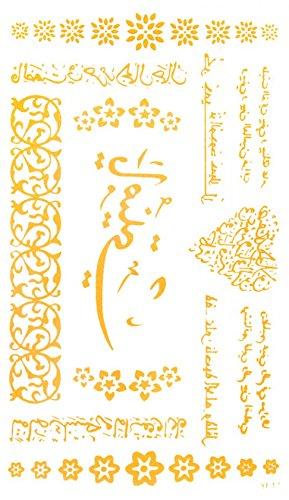 Inde et le style Second Est langue antique et des fleurs d'or d'or de tatouages temporaires
