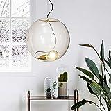 s.LUCE Glas-Pendelleuchte Sphere 40 gold mit loser Fassung Design-Glaslampe moderne Hängeleuchte Hängelampe Pendellampe Wohnzimmerlampe
