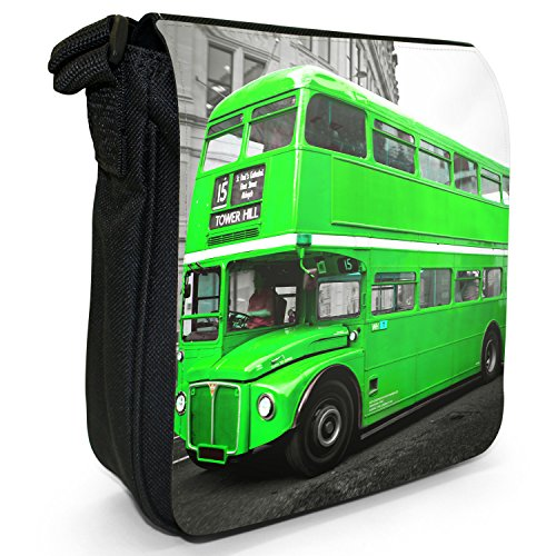 London Bus-Borsa a spalla piccola di tela, colore: nero, taglia: S Nero (Green London Bus)