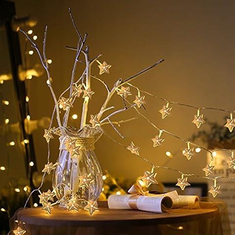 Sterne Lichterkette Batteriebetrieben, Elinker® Wasserdicht 2,5 Meter 20 LED Hölzernde Stimmungslichter für Innen und Außen, Party, Weihnachten, Dekoration,Hochzeit (Warmweiß)
