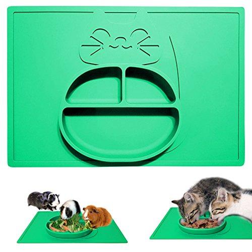 Comedero para perros y gatos y alimentación Mat–una pieza no Mess–kittymatbowl–apta para lavavajillas–antideslizante–No derrames y silicona de grado alimenticio plato y manteles individuales de comida para mascotas en uno–resistente gato alfombrilla de cuenco