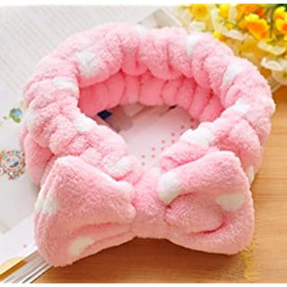 ANKKO Lovely Coral Fleece Bowknot Bow Makeup Cosmetic Headband Shower Elastic Hairband