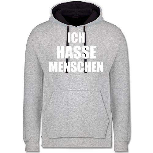 Statement Shirts - Ich hasse Menschen - Kontrast Hoodie Grau meliert/ Dunkelblau