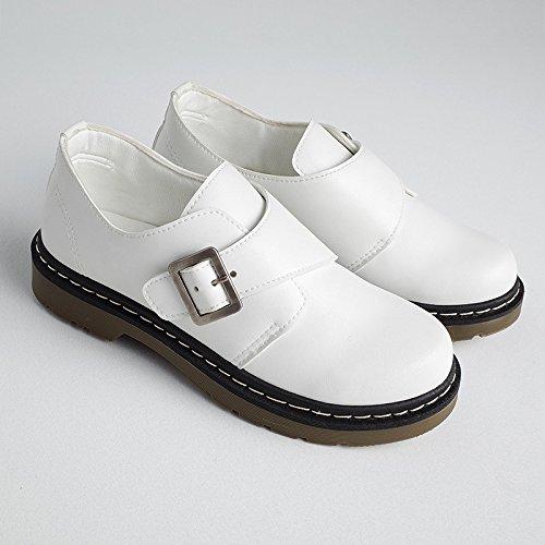 Scarpe donna autunno e inverno scarpe scarpe casual Inghilterra mette piede di spessore non-slip studenti fondo piatto calore white