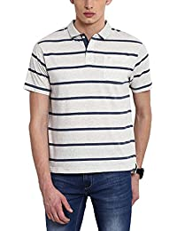 Classic Polo White Striped Half Sleeves Polo T-shirt For Men