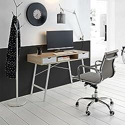 Mesa Escritorio TROMSO Estilo nórdico, Combinado blanco y patas metálicas