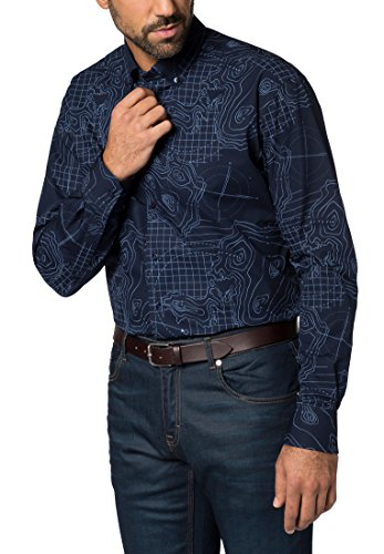 Eterna Long Sleeve Shirt Modern Fit Poplin Printed Blu marino