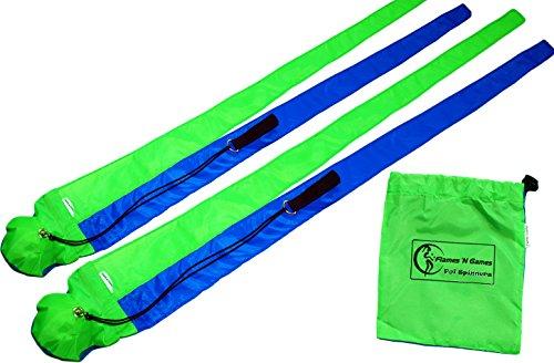Poi  Snake Poi  - Practice Fabric Poi - Blue   UV Green
