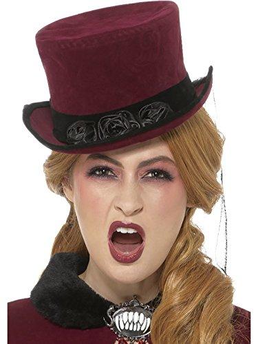 Smiffys, Damen Vikorianische Vampirin Hut mit Schleier, One Size, Burgunderrot, (Viktorianischer Kostüme Vampir)