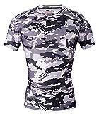 Cody lundin® Hombre Fitness mosaico Camo manga corta camisa sport Compresión Corto Mangas Camiseta de impresión Ropa de camuflaje, Hombre, color Schwarz-Weiß Camo, tamaño M