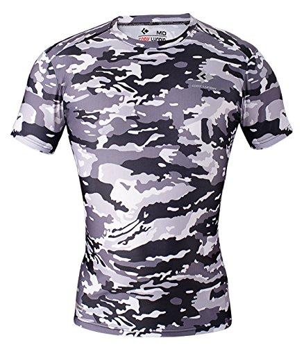 Cody lundin® Hombre Fitness mosaico Camo manga corta camisa sport Compresión Corto Mangas Camiseta de impresión Ropa de camuflaje, Hombre, color Schwarz-Weiß Camo, tamaño L