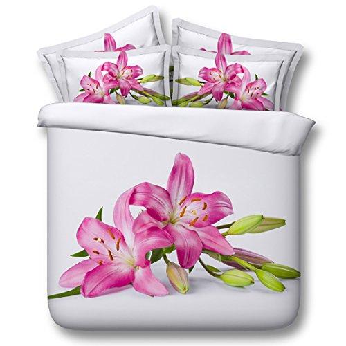 HUANZI Weiße Bettbezug 3D Bunte Blumen Reversible Polyester Bettbezug & Kissenbezüge Set (Doppel), 200 * 220 (Baumwolle Reversible Tröster)