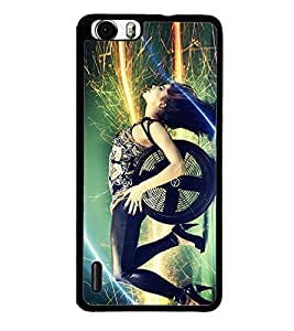 Fuson Premium 2D Back Case Cover Dj girl With blue Background Degined For Huawei Honor 6
