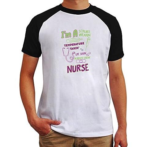 Camiseta Raglan Nurse I'm A Scrubs Wearin'