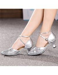 Silencio @ Latina zapatos de baile de la mujer charol Chunky talón azul/rosa/rojo/plata/oro, rojo, US9.5-10 / EU41 / UK7.5-8 / CN42