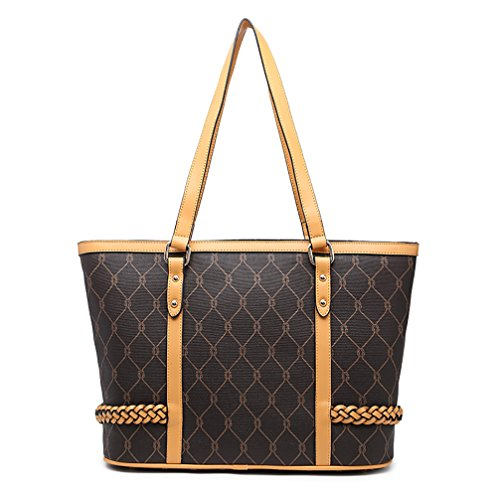 VANCOO Fashion Women Black Handbag PU Leather Tote Bag Shopping Large Capacity Shoulder Bag Large Shopper Bag (Black)