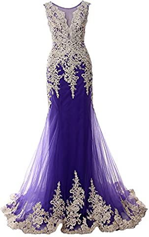 MACloth Gorgeous Mermaid Long Prom Dress Illusion Lace Formal Evening Gown (38, Regency)
