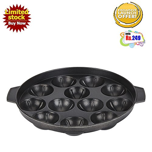 BMS Lifestyle Non-Stick 12 Cavity Appam Patra, Black  available at amazon for Rs.249