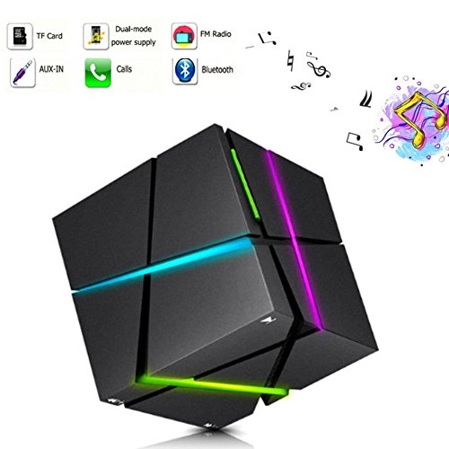 Mini altoparlante portatile bluetooth speaker, tkstar wireless led illuminazione stereo magic cube sound box con microfono supporto tf/aux/usb migliore regalo scelta