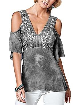 Mujeres Blusa Tops Camisa V-Cuello Hombro Camiseta De Manga Corta Ocasional Estiramiento Gris Oscuro Tie Dye S