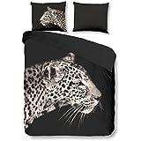 PURE Juego De Funda Nórdica Leopard Antracita Cama 80 (135 x 200 cm + 80 x 80 cm)