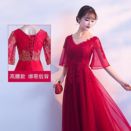 JKJHAH Kleider Braut- Mutterschaft V-Ausschnitt Abendkleid Large Size, Weinrot A, M -
