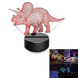 Bescita Dinosaurier, Optische 3D-Illusion, LED Schreibtisch Tisch Nachtlicht, 7 Farben, USB-Nachtlicht | 3D Pädagogische Spielzeug, Dinosaurier Geschenk (B)