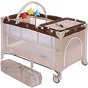 LCP Kids Kinder Reisebett faltbar 120x60 cm höherverstellbar Baby Wickelauflage; Farbe: beige
