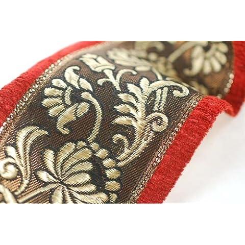 Un tipo di nastro in broccato, motivo floreale, con un bordo in velluto con bordo in contrasto, cimose color. tradizionale indiana Sari-ma Utilizzabile per ogni decorazione da sartoria, interni o crafts. 9 cm, profondità: 2 borse combos. venduto o da un metro per Sari-lunghezza 9 m